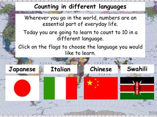 Counting in different languages
