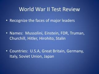 World  War  II Test  Review