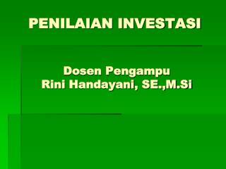 PENILAIAN INVESTASI