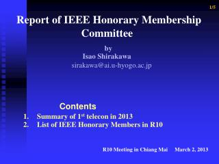 1/5 Report of IEEE Honorary Membership      Committee