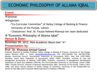 ECONOMIC PHILOSOPHY OF ALLAMA IQBAL