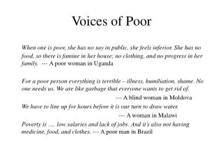 Voices of Poor