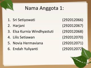 Nama Anggota  1: