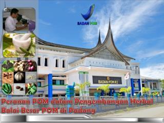 Peranan  POM  dalam Pengembangan  Herbal Balai Besar  POM  di  Padang