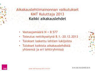 Aikakauslehtimainonnan vaikutukset KMT Kuluttaja 2013  Kaikki aikakauslehdet