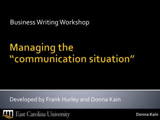 """Managing the """"communication situation"""""""