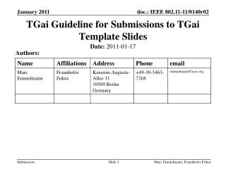 TGai  Guideline for Submissions to  TGai  Template Slides