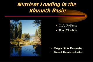 Nutrient Loading in the Klamath Basin