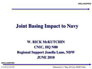 Joint Basing Impact to Navy