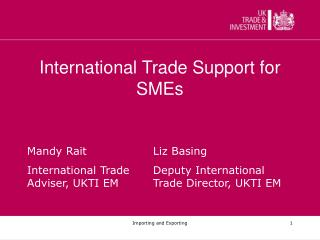 International Trade Support for SMEs