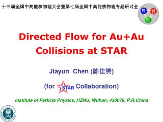 Directed Flow for Au+Au Collisions at STAR