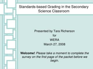 Standards-based Grading in the Secondary Science Classroom