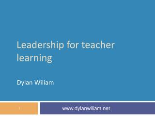 Leadershi p for teacher learning