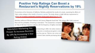 Reputation Marketing Has Proven To Increase Business By 19% By Increasing ½ Star Rating Online