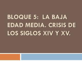 BLOQUE 5:  LA BAJA EDAD MEDIA. CRISIS DE LOS SIGLOS XIV Y XV.