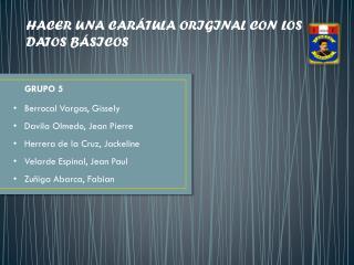 HACER UNA CARÁTULA ORIGINAL CON LOS DATOS BÁSICOS