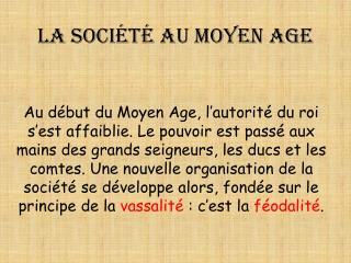 La société au Moyen Age