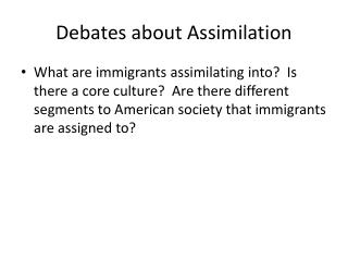 Debates about Assimilation