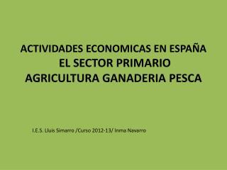 ACTIVIDADES ECONOMICAS EN ESPAÑA  EL SECTOR PRIMARIO  AGRICULTURA GANADERIA PESCA