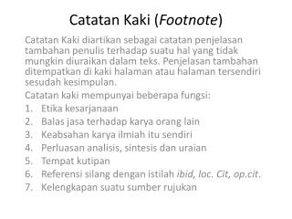 Catatan  Kaki ( Footnote )