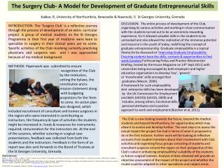 The Surgery Club- A Model for Development of Graduate Entrepreneurial Skills