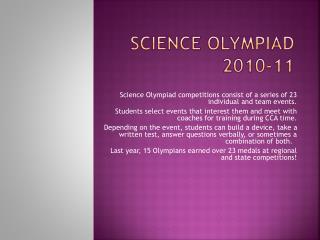 S cience  Olympiad  2010-11