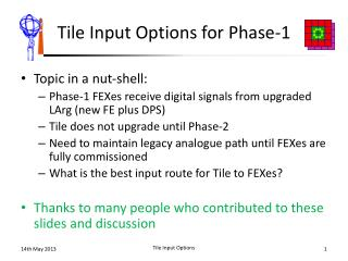 Tile Input Options for Phase-1
