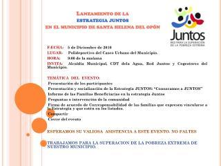 Lanzamiento de la  estrategia juntos en el municipio de santa helena del opón