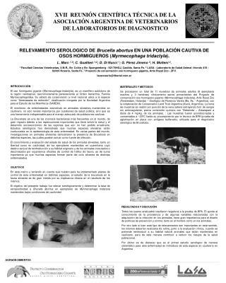 XVII  REUNI N CIENT FICA T CNICA DE LA ASOCIACI N ARGENTINA DE VETERINARIOS DE LABORATORIOS DE DIAGNOSTICO