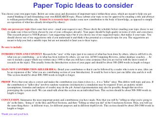 Paper Topic Ideas to consider