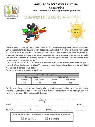 AGRUPACIÓN DEPORTIVA E CULTURAL AS MARIÑAS Tlfno .:    616135634  E-mail: ampaneiravilas@gmail.com
