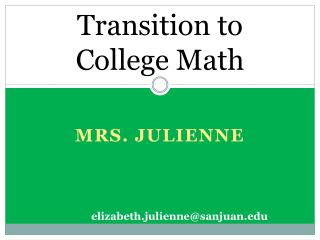 Transition to College Math