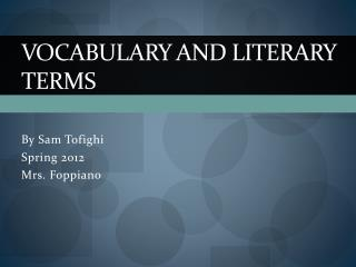 Vocabulary and literary terms