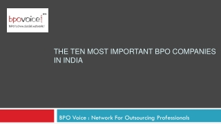 The Ten Most Important BPO Companies In India