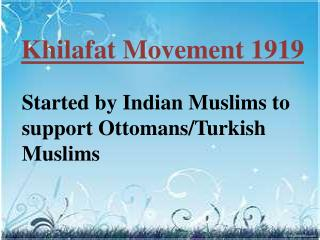 Khilafat  Movement 1919