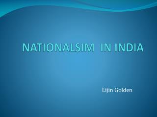 NATIONALSIM  IN INDIA