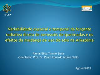 Aluna : Elisa  Thomé Sena Orientador : Prof. Dr. Paulo Eduardo  Artaxo Netto Agosto /2013