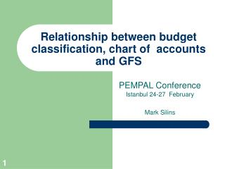 Relationship between budget classification, chart of  accounts and GFS