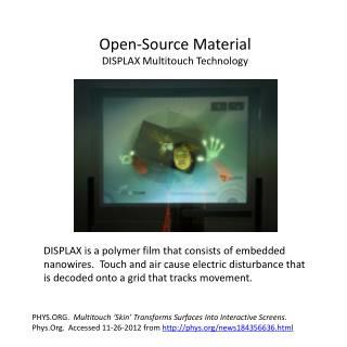 Open-Source Material DISPLAX  Multitouch  Technology