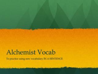 Alchemist Vocab
