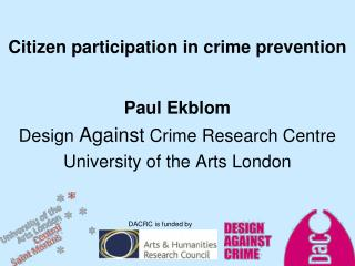 Citizen participation in crime prevention