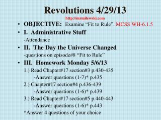 Revolutions  4/29/13 http://mrmilewski.com