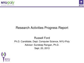 Research Activities Progress Report