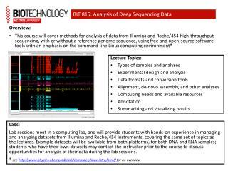 BIT 815: Analysis of Deep Sequencing Data
