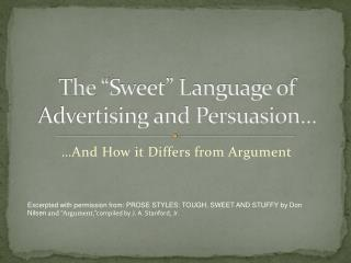 "The "" Sweet"" Language of Advertising and Persuasion…"