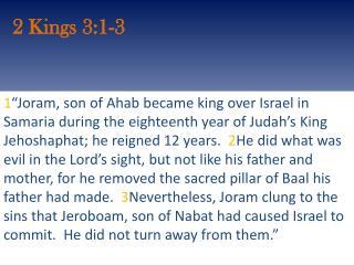 2 Kings 3:1-3