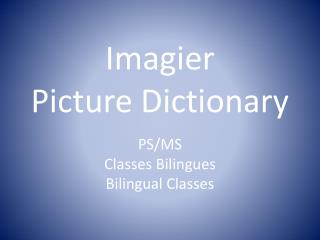Imagier Picture Dictionary