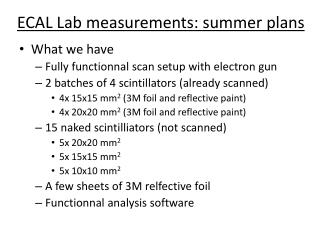 ECAL Lab measurements: summer plans