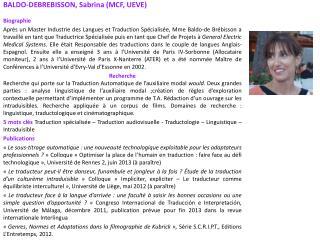 BALDO-DEBREBISSON, Sabrina (MCF, UEVE) Biographie