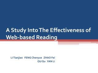 A Study Into The Effectiveness of Web-based Reading